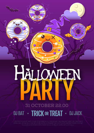 Halloween disco party poster with kawaii sweet donuts.