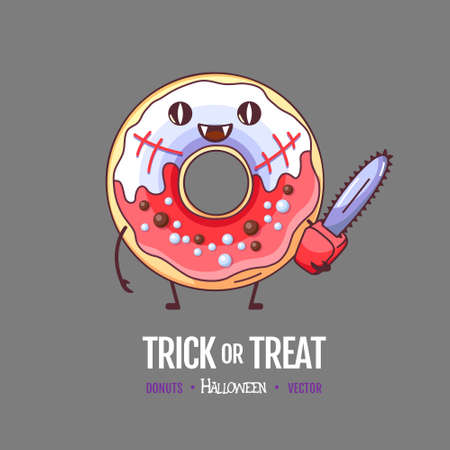 Halloween Kawaii funny donut zombie. Sweet fast food vector illustration. Halloween Graphic print sign Ilustracja