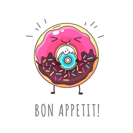 Kawaii funny donut eating donut. Sweet fast food vector illustration. Graphic print sign Vector Illustratie