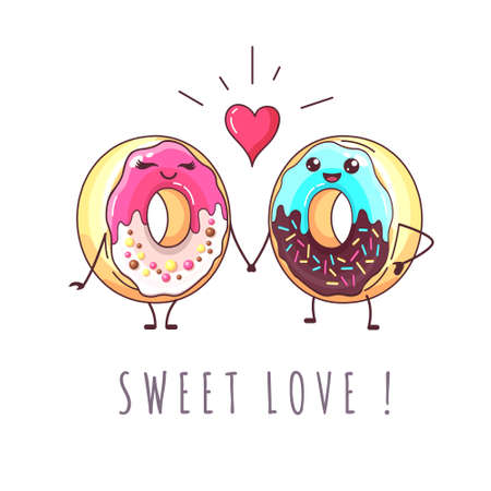 Kawaii funny donuts in love. Sweet fast food vector illustration. Graphic print sign