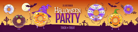 Halloween party poster with sweet kawaii funny donuts. Halloween background. Vector illustration