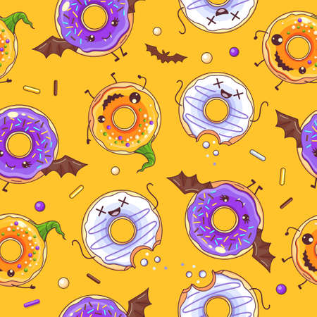 Seamless halloween pattern with funny kawaii sweet spooky donuts. Halloween background. Vector illustration Ilustracja