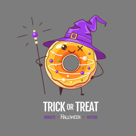 Halloween Kawaii funny donut witch. Sweet fast food vector illustration. Halloween Graphic print sign