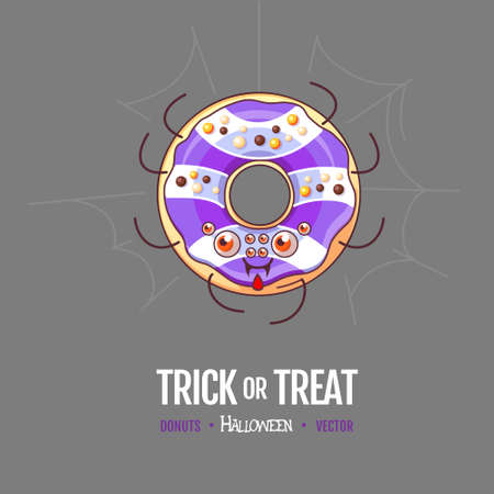 Halloween Kawaii funny donut spider. Sweet fast food vector illustration. Halloween Graphic print sign