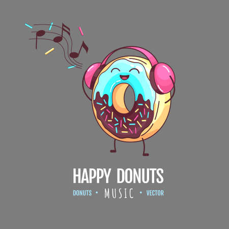 Kawaii funny donut listening to music. Sweet fast food vector illustration. Graphic print sign