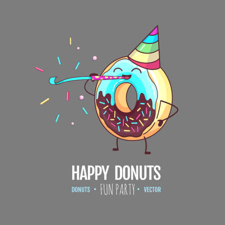 Kawaii funny donut celebrating birthday. Sweet fast food vector illustration. Graphic print sign