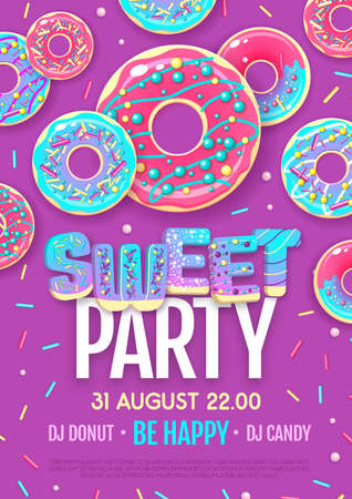 Disco party poster with colorful sweet donuts. Junk fast food background  イラスト・ベクター素材