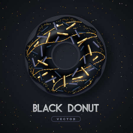 Realistic illustration of isolated black sweet donut with golden sugar sprinkle on black background. Vector