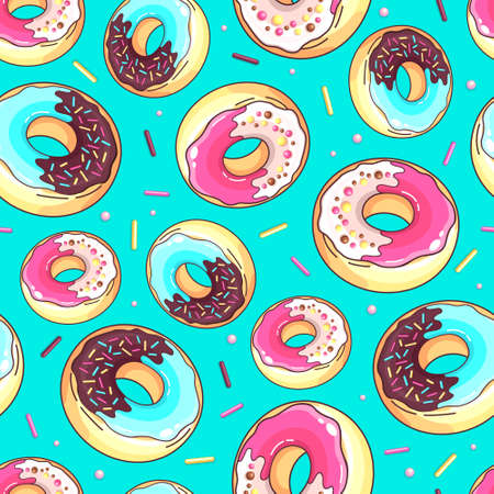 Seamless pattern with colorful sweet donuts. Junk fast food background  イラスト・ベクター素材