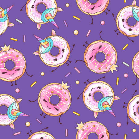 Seamless pattern with funny kawaii sweet donuts like unicorn. Cartoon background. Vector illustration