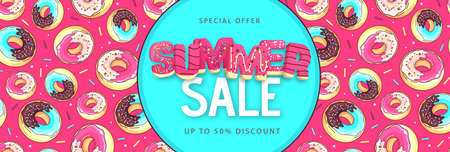 Colorful summer big sale poster with sweet donuts. Summertime background. Junk food background. Typography design