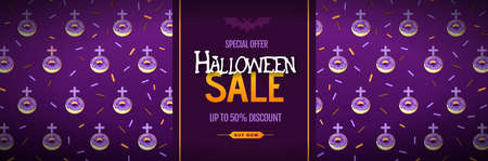 Halloween big sale poster with sweet donuts. Halloween background. Vector illustration Illustration