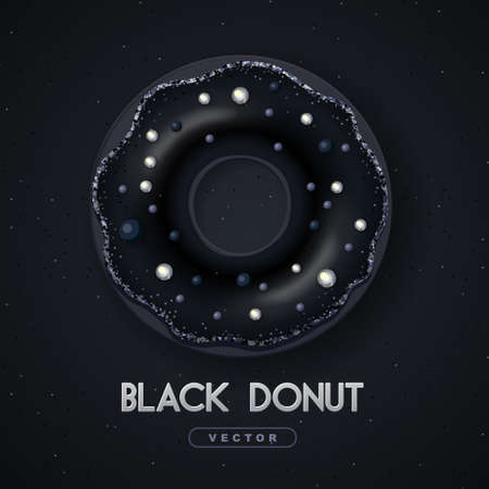 Realistic illustration of isolated black sweet donut with silver sugar sprinkle on black background. Vector  イラスト・ベクター素材