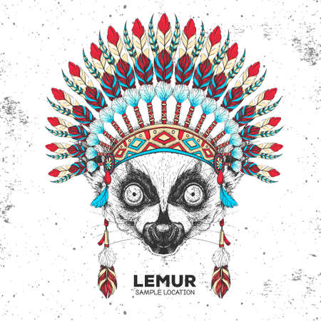 Hipster animal lemur with indian feather headdress. Hand drawing Muzzle of animal lemur