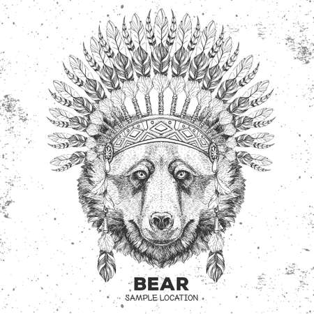 Hipster animal bear with indian feather headdress. Hand drawing Muzzle of animal bear