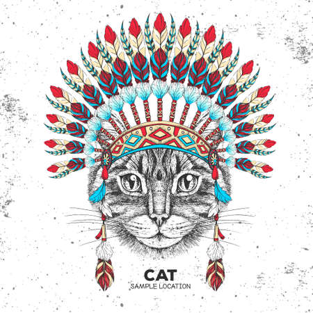 Hipster animal cat with indian feather headdress. Hand drawing Muzzle of animal cat