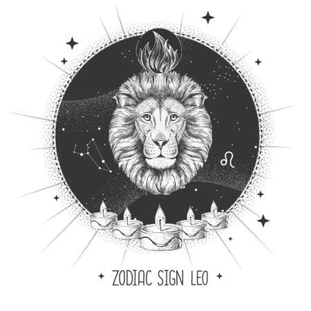 Modern magic witchcraft card with astrology Leo zodiac sign. Realistic hand drawing lion head. Zodiac characteristic Ilustración de vector