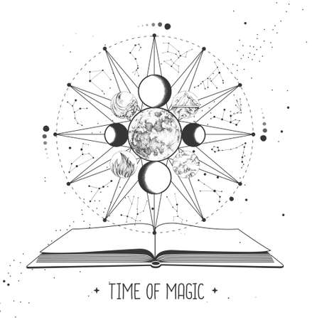 Modern magic witchcraft Astrology wheel with zodiac signs and open magic book. Zodiac constellations. Horoscope vector illustration