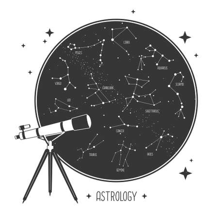 Modern magic witchcraft card with telescope and zodiac constellations in the night sky. Vector illustration Illustration
