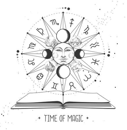 Modern magic witchcraft Astrology wheel with zodiac signs and open magic book. Horoscope vector illustration Illustration
