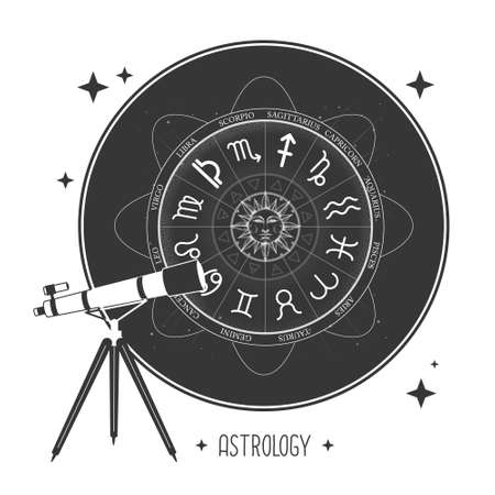 Modern magic witchcraft card with telescope and Astrology wheel with zodiac signs. Horoscope Vector illustration Illustration