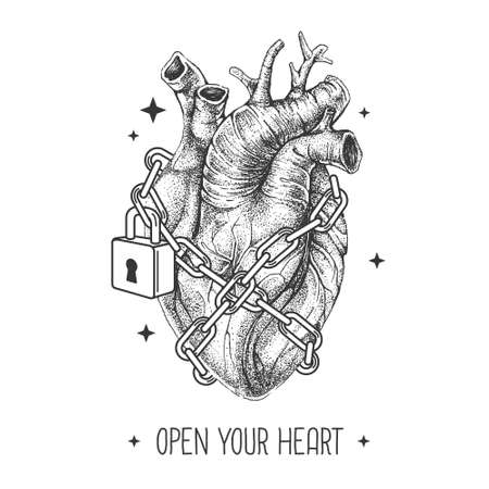 Modern magic witchcraft card with realistic human heart chained with a padlock on space background. Vetor illustration