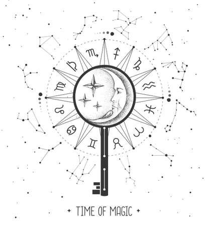 Modern magic witchcraft Astrology wheel with zodiac signs on space background. Magic key silhouette. Horoscope vector illustration