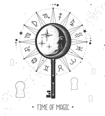 Modern magic witchcraft card with key sign on space background. Vector illustration Illustration