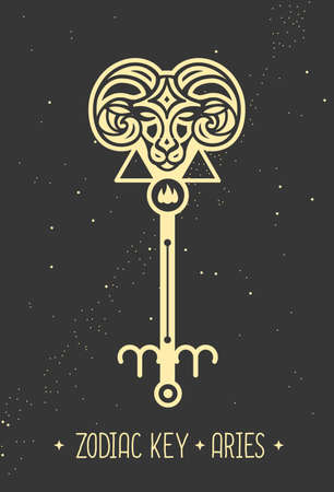 Modern magic witchcraft card with astrology Aries zodiac sign. Magic key silhouette
