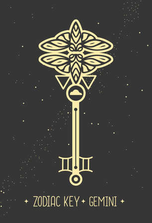 Modern magic witchcraft card with astrology Gemini zodiac sign. Magic key silhouette Vektorgrafik