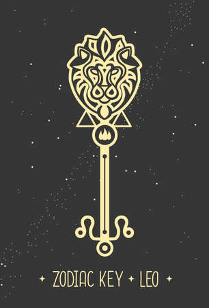 Modern magic witchcraft card with astrology Leo zodiac sign. Magic key silhouette