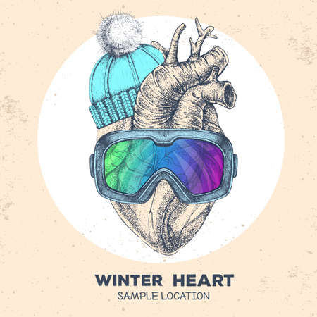 Realistic hand drawing vector illustration of human heart in winter hat and snowboard goggles