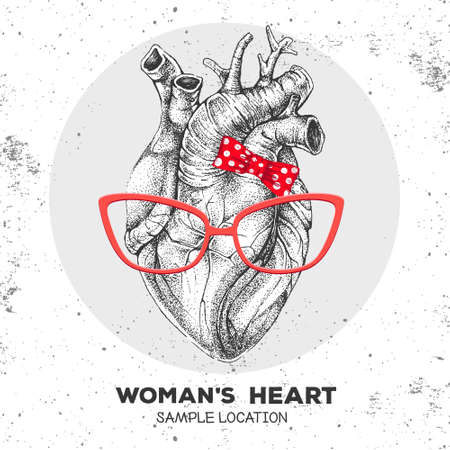 Realistic hand drawing vector illustration of women`s heart with hister glasses and bow. Illusztráció