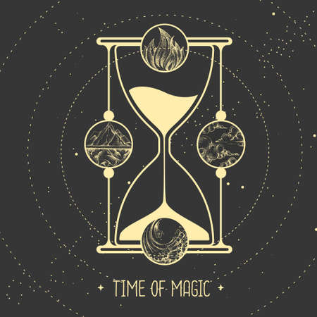 Modern witchcraft magic card with hourglass and four elements. Vector illustration Vetores