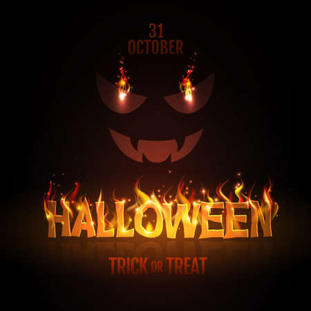 Typography Halloween party poster with burning letters and jack o lantern. Halloween background