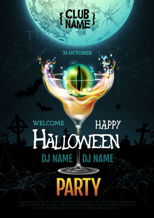 Halloween cocktail disco party poster with realistic transperent cocktail glass and burning eye inside. Standard-Bild - 156365187