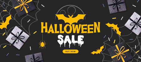 Halloween sale poster with gift boxes and bat silhouette. Halloween background