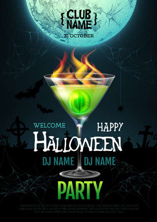 Halloween cocktail disco party poster with realistic transperent cocktail glass and burning eye inside. Standard-Bild - 156365192