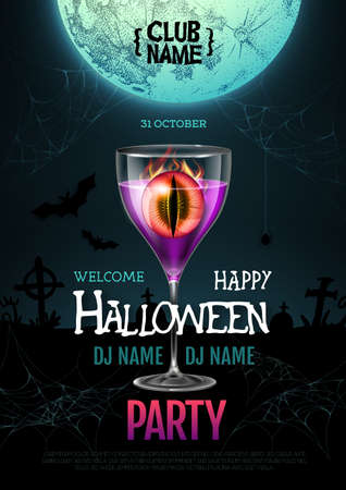 Halloween cocktail disco party poster with realistic transperent cocktail glass and burning eye inside. Standard-Bild - 156365198