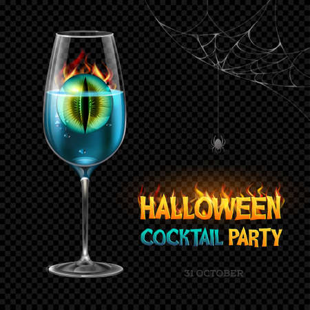 Halloween posion with burning eye. Halloween cocktail party poster. Realistic wine glass isolated on transperent background Standard-Bild - 156365199