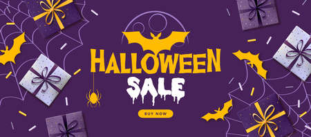 Halloween sale poster with gift boxes and bat silhouette. Halloween background Standard-Bild - 156365200