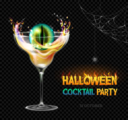 Halloween poison with zombie eye. Halloween cocktail party poster. Realistic cocktail glass isolated on transparent background Illustration
