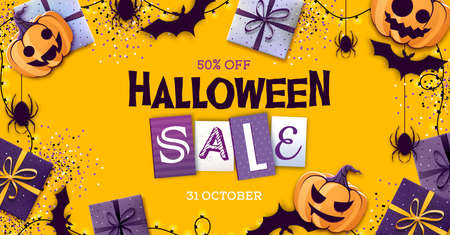 Halloween sale poster with gift boxes and jack o lantern. Halloween background