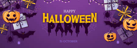 Halloween disco party poster with jack o lantern and gift boxes. Halloween background