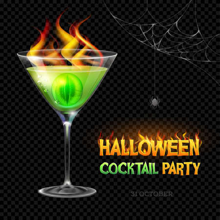 Halloween poison with burning eye. Halloween cocktail party poster. Realistic cocktail glass isolated on transparent background