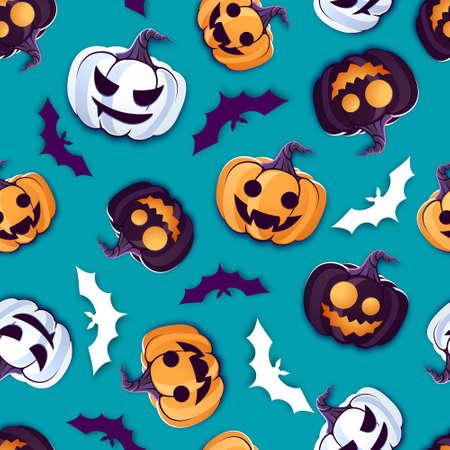 Halloween seamless pattern with jack o lantern and bat. Vector illustration