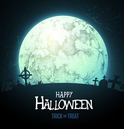 Halloween background with full moon and cemetery. Vector illustration
