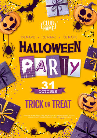 Halloween disco party poster with jack o lantern and gift boxes. Halloween background Standard-Bild - 156365275