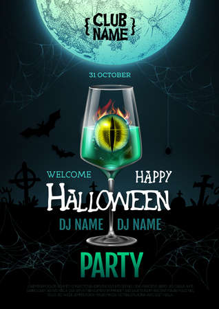 Halloween cocktail disco party poster with realistic transparent cocktail glass and burning eye inside. Standard-Bild - 156365277