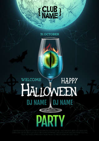 Halloween cocktail disco party poster with realistic transparent cocktail glass and burning eye inside. Illustration